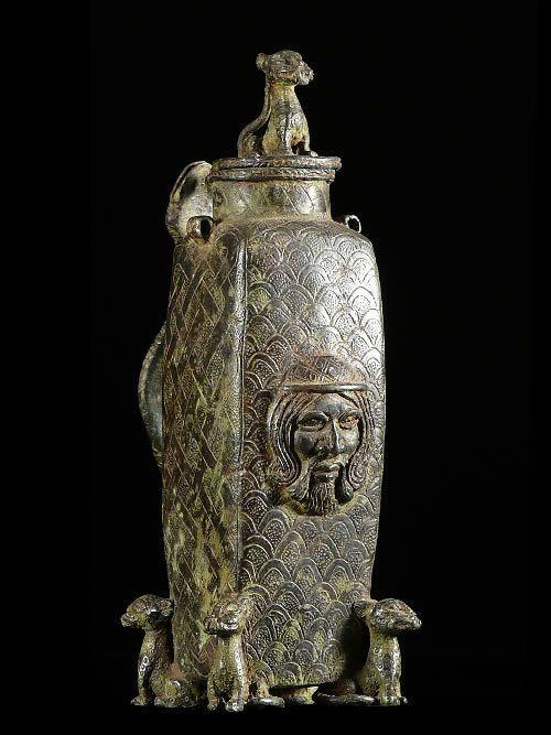 Theiere Afro Portugaise en bronze - Bini - Benin Nigeria