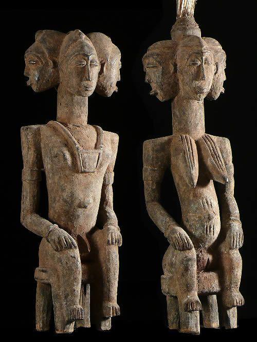 Couple de statues gardiens de case royale - Senoufo
