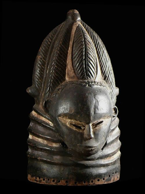 Masque casque Sowei Sande - Mende Gola - Sierra Leone