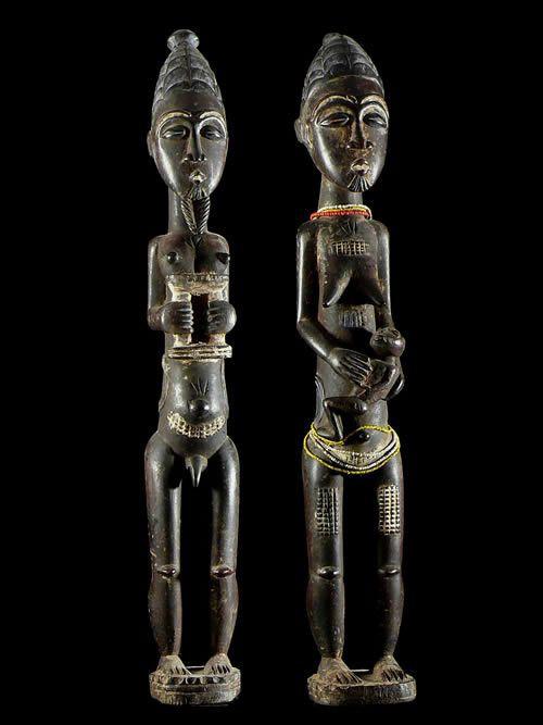 Couple de notables ou royal - Kulango - Côte d'Ivoire