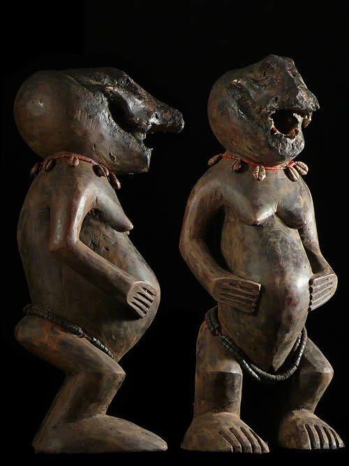 Statuette Fetiche Singe Mbra - Baoule - Côte d'Ivoire