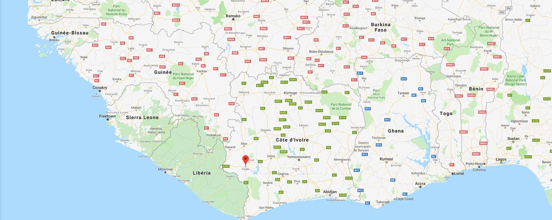 localisation de ethnie Guere / Gewo